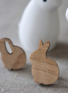 Wooden Bunny Pin